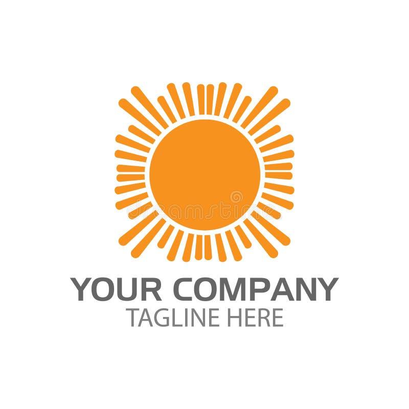Mall för sol- och ljuslogodesign arkivfoto