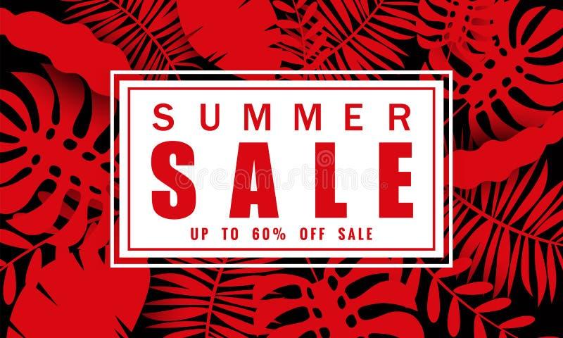 Mall för sommarförsäljningsbaner för säsongsbetonade försäljningar med tropisk sidabakgrund, baner för blom- design för färg exot royaltyfri illustrationer