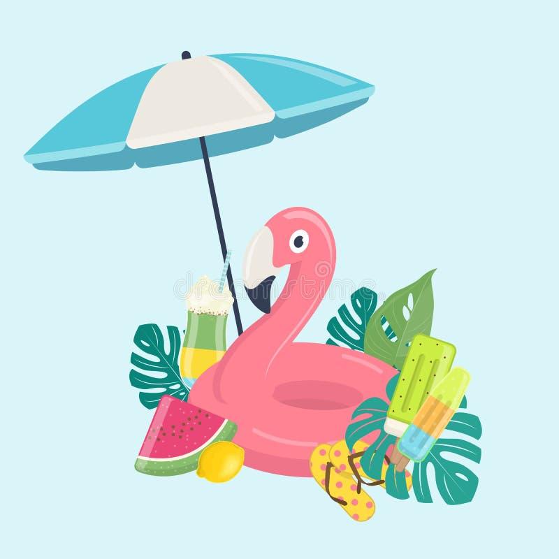 Mall för sommarstrandsemestrar vektor illustrationer
