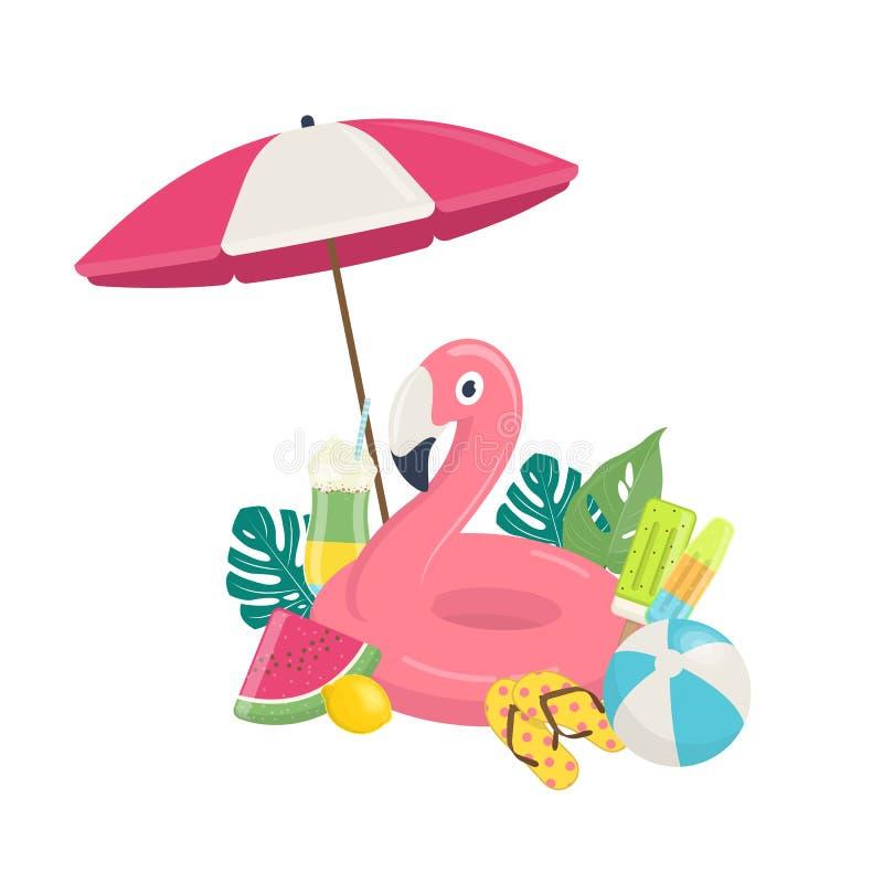 Mall för sommarstrandsemestrar stock illustrationer