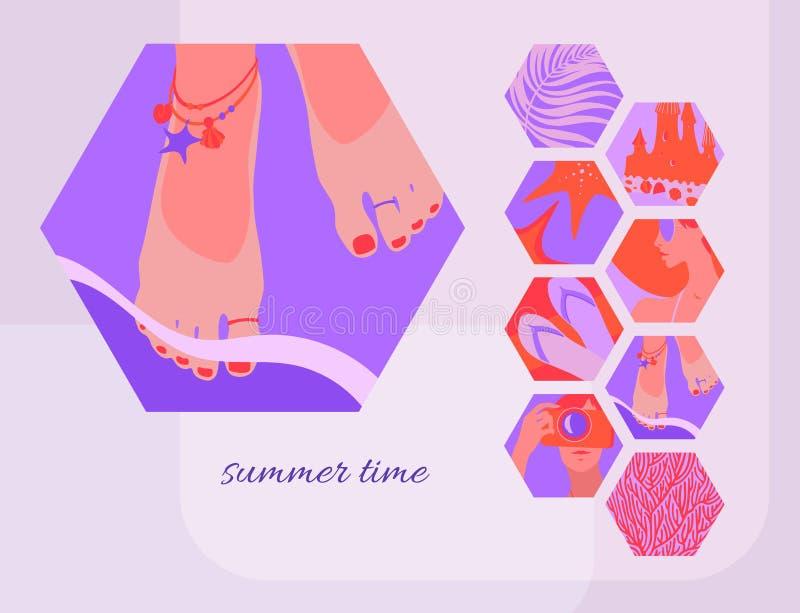 Mall för sommartidkort med kvinnors fot som smyckas med cirklar och armband i den annalkande kust- vågen Modern vektor vektor illustrationer