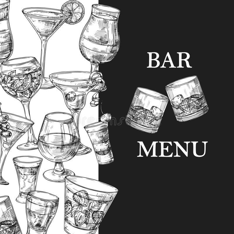 Mall för stångmenyvektor med drinkar och coctailar för hand utdragna royaltyfri illustrationer