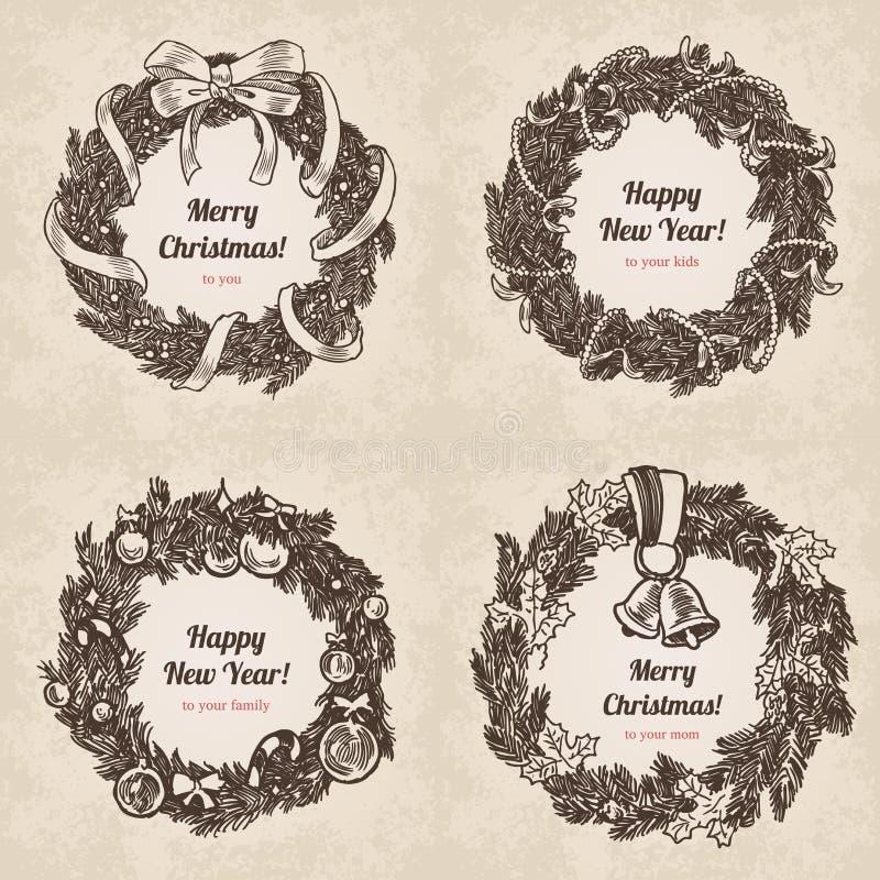 Mall för stil för gravyr för nytt år för kransjul handdrawn stock illustrationer