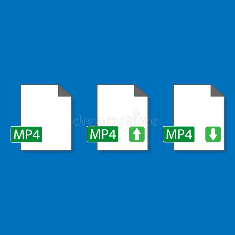 Mall för symbol för format för mapp Mp4 stock illustrationer