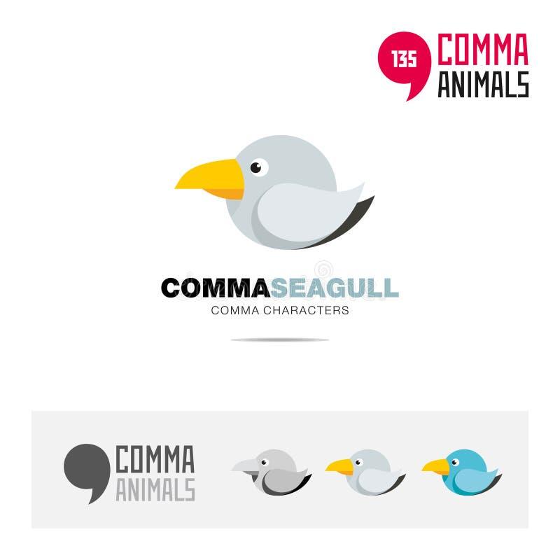 Mall för symbol för Seagullfågelbegrepp fastställd och modern för märkesidentitet för logo och app-symbol som baseras på kommatec vektor illustrationer