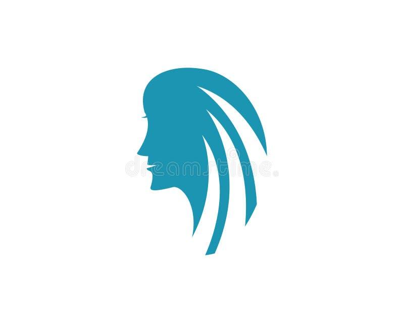 Mall för symbol för skönhetkvinnaframsida royaltyfri illustrationer