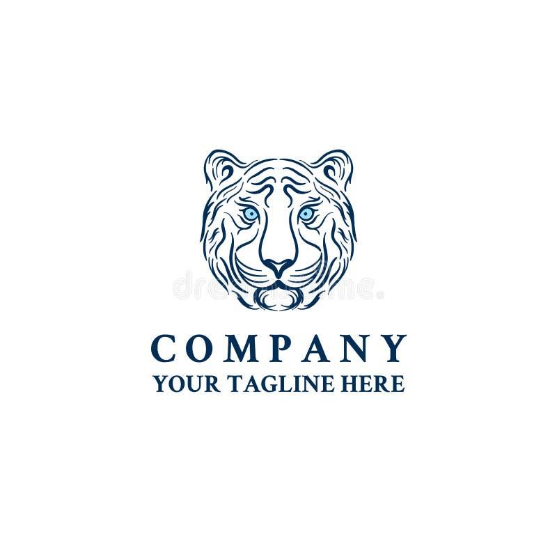 Mall för symbol för vektor för logo för tigerhuvudframsida stock illustrationer