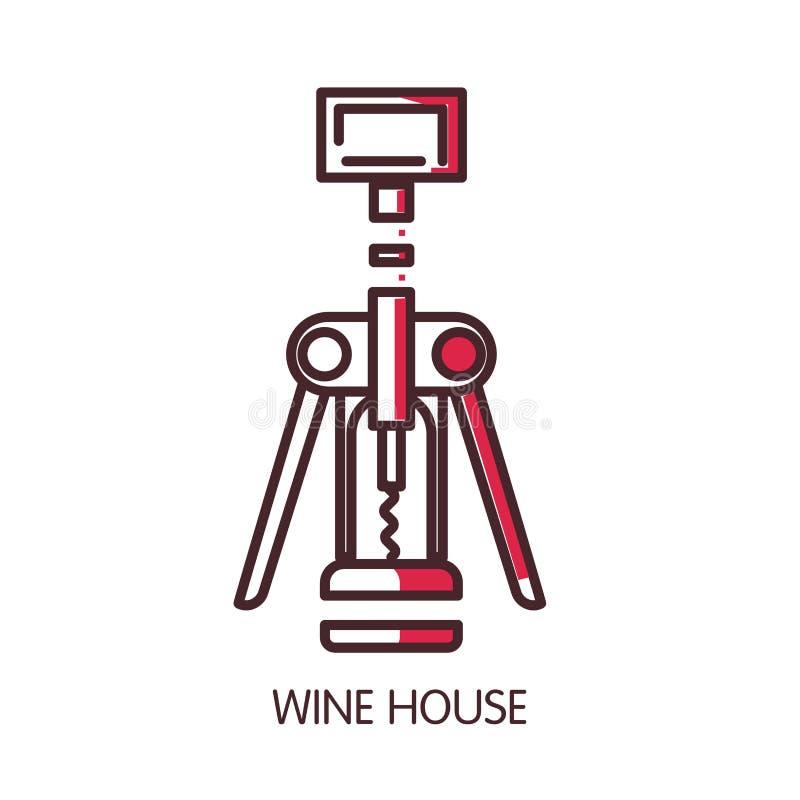 Mall för symbol för vinhusvektor av den moderna korkskruvet för vin vektor illustrationer