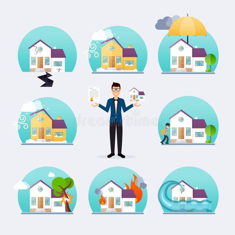 Mall för symboler för service för husförsäkringaffär royaltyfri illustrationer