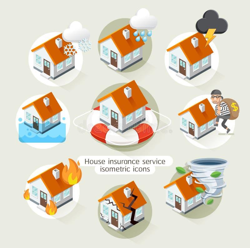 Mall för symboler för service för husförsäkringaffär isometrisk vektor illustrationer