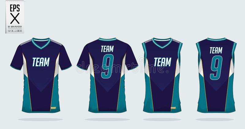 Mall för T-tröjasportdesign för fotbollärmlös tröja, fotbollsats och ärmlös tröja för basketärmlös tröja Enhetlig främst och till royaltyfri illustrationer