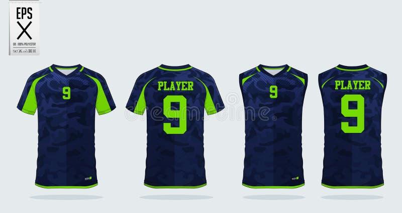 Mall för T-tröjasportdesign för fotbollärmlös tröja, fotbollsats och ärmlös tröja för basketärmlös tröja Enhetlig främst och till stock illustrationer