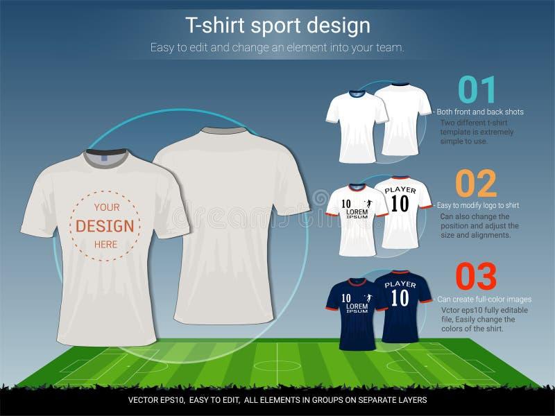 Mall för T-tröjasportdesign för fotbollklubba eller all sportswear stock illustrationer