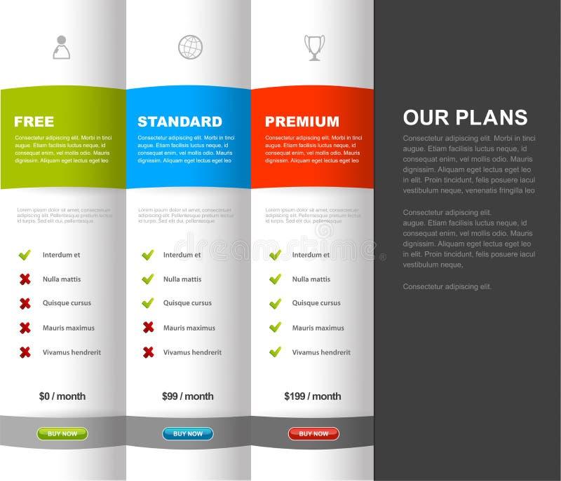 Mall för tabell för jämförelse för Websiteproduktprissättning med 3 alternativ royaltyfri illustrationer