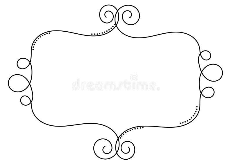 Mall för tappning för ram för krullningstrådgräns stock illustrationer