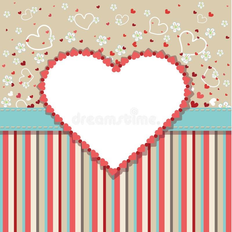 Mall för tappningbröllopdesign med hjärtor, blomma royaltyfri illustrationer
