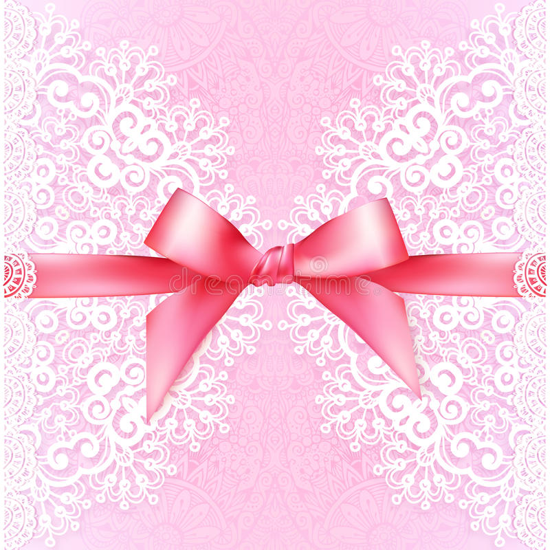 Mall för tappningbröllopkort med rosa färgpilbågen vektor illustrationer