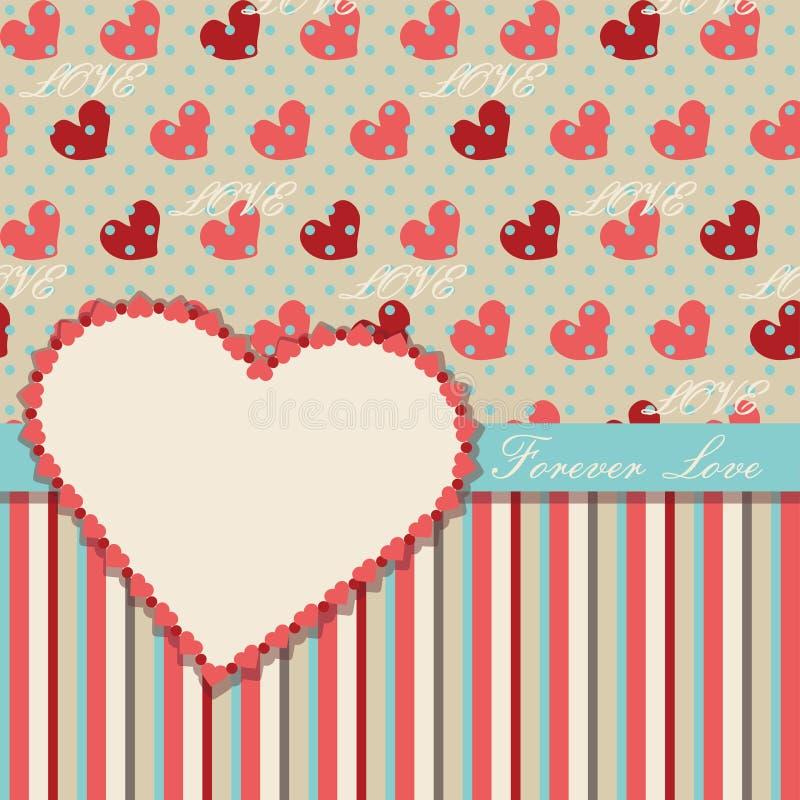 Mall för tappningvalentindesign med hjärtor och royaltyfri illustrationer