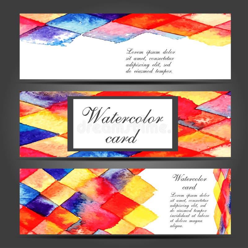 Mall för tre vektoraffärskort med handen vektor illustrationer