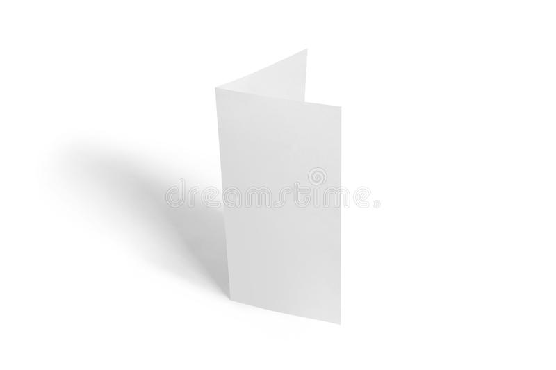 mall för Två-blad reklambladmodell Vitt mallpapper för tom broschyr på bakgrund arkivbild