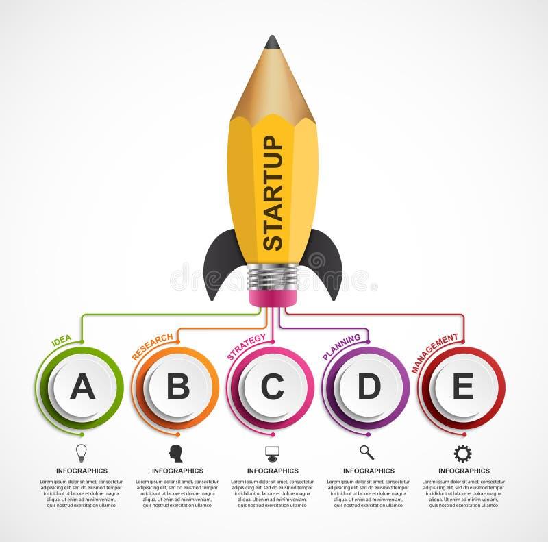 Mall för utbildningsInfographic design Raket av en blyertspenna för bildande och affärspresentationer och broschyrer vektor illustrationer