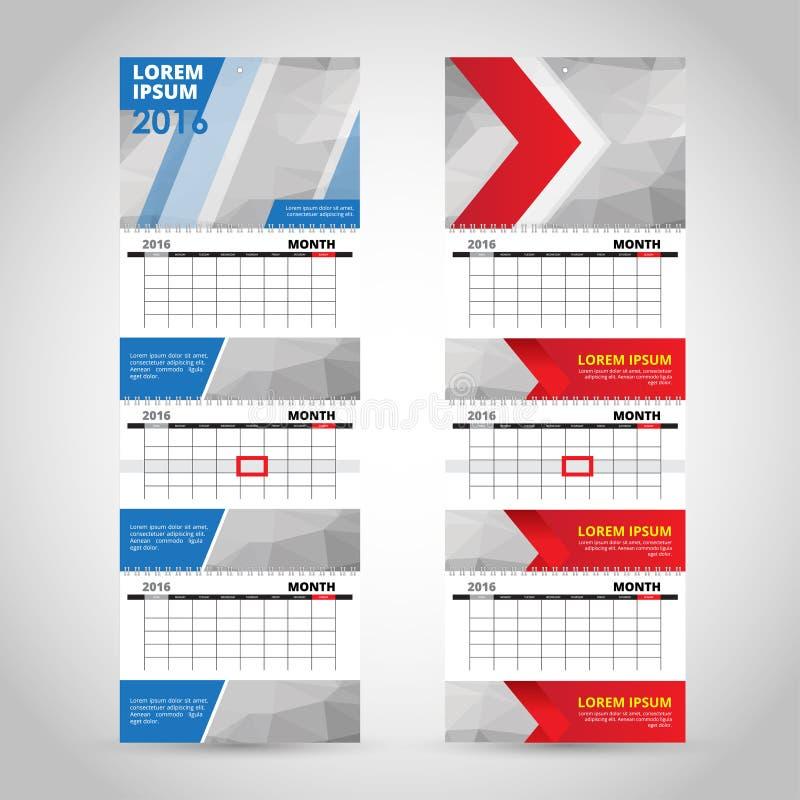 Mall för väggtriokalender som isoleras på grå bakgrund stock illustrationer