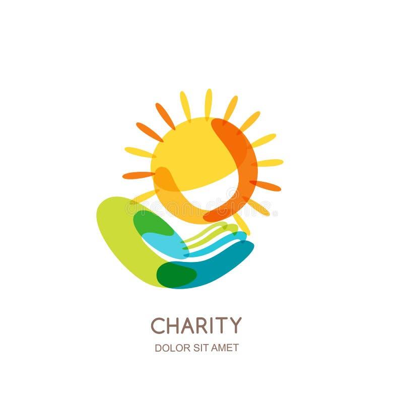 Mall för välgörenhetlogodesign Abstrakt färgrik sol på den mänskliga handen vektor illustrationer