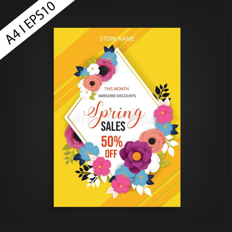 Mall för vårförsäljningsreklamblad på gul bakgrund royaltyfria bilder
