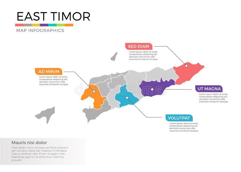 Mall för vektor för Östtimor översiktsinfographics med regioner och pekarefläckar royaltyfri illustrationer