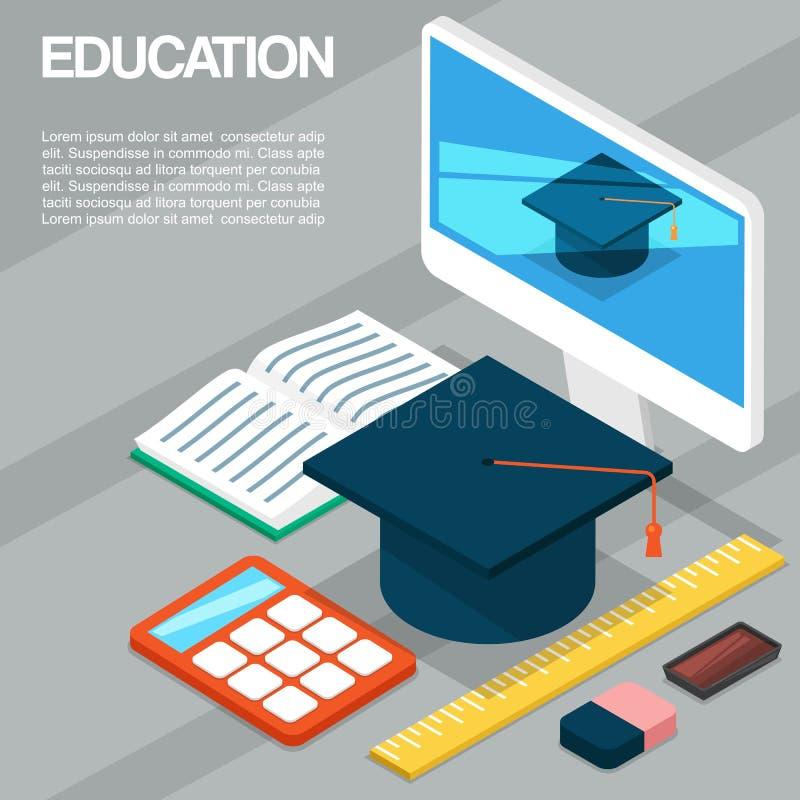 Mall för vektor för avläggande av examenceremoni eller partimeddelande Avläggande av examenlock, bildskärm, öppen bok och räknema stock illustrationer