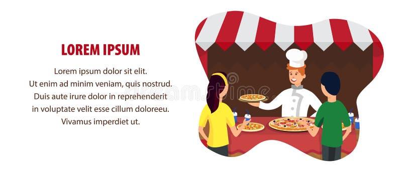 Mall för vektor för baner för italienskt pizzalager plan stock illustrationer