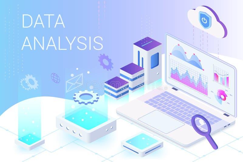 Mall för vektor för baner för rengöringsduk för dataanalys isometrisk royaltyfri illustrationer