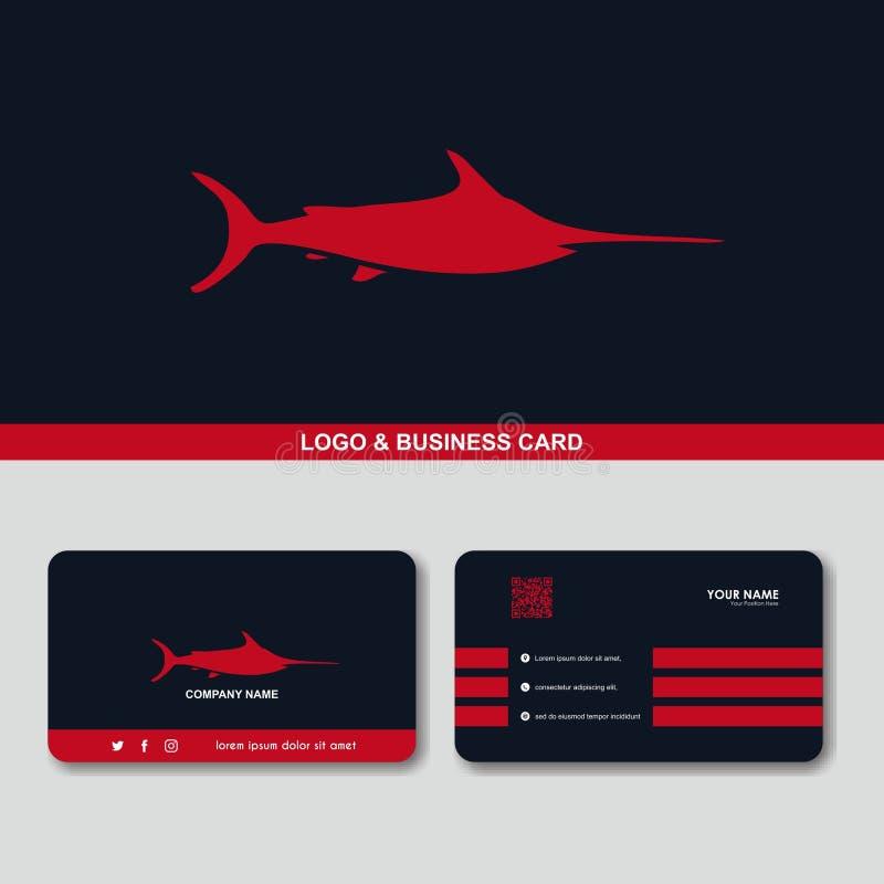 Mall för vektor för begrepp för design för kort för affär för Marlinfisklogo stock illustrationer