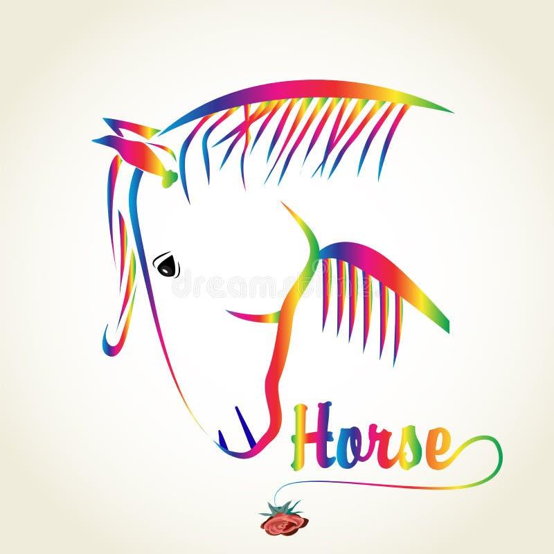 Mall för vektor för bild för logo för emblem för regnbågehästdesign stock illustrationer
