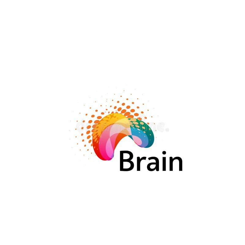 Mall för vektor för Brain Logo konturdesign Funderareidébegrepp Symbol för logotyp för makt för hjärnstorm tänkande isolerat vektor illustrationer