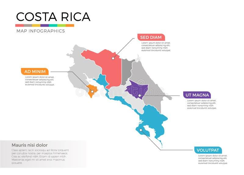 Mall för vektor för Costa Rica översiktsinfographics med regioner och pekarefläckar royaltyfri illustrationer