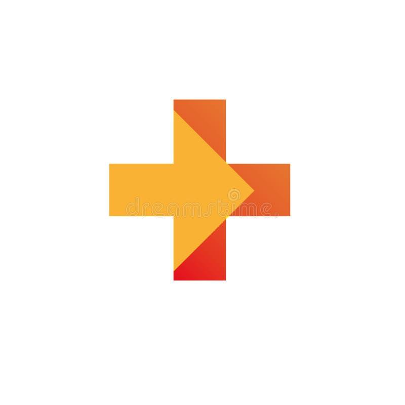 Mall för vektor för design för abstrakt begrepp för kors för apotekLogo Medicine gräsplan Begrepp för logotyp för ögla för oändli royaltyfria bilder
