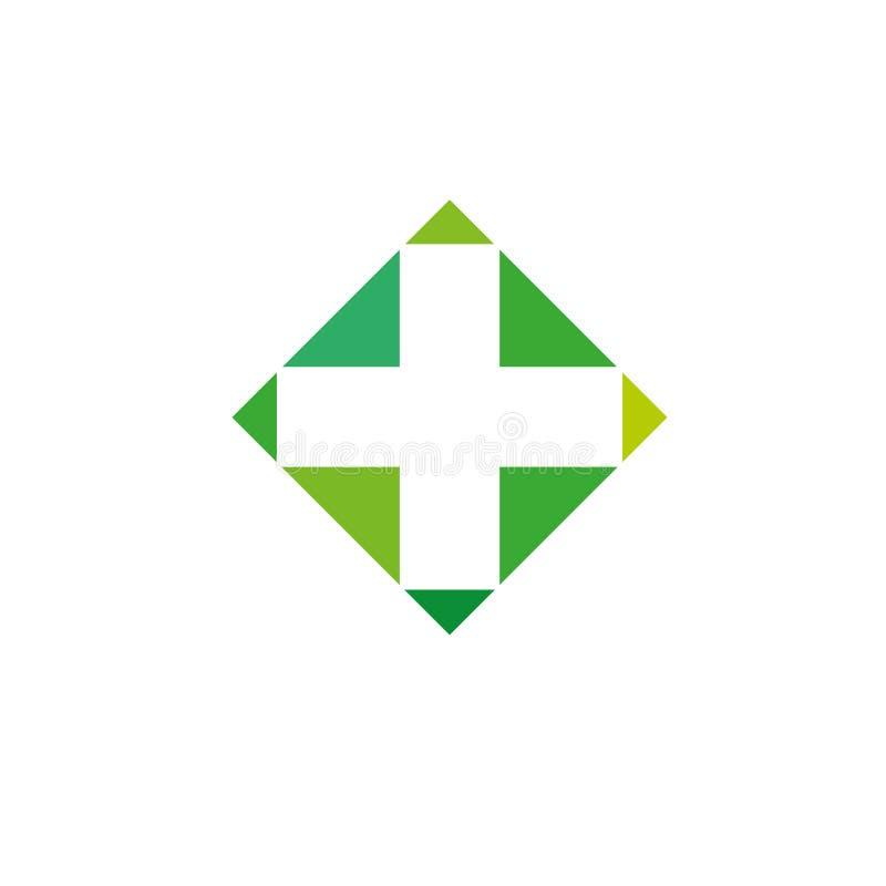 Mall för vektor för design för abstrakt begrepp för kors för apotekLogo Medicine gräsplan Begrepp för logotyp för ögla för oändli royaltyfria foton