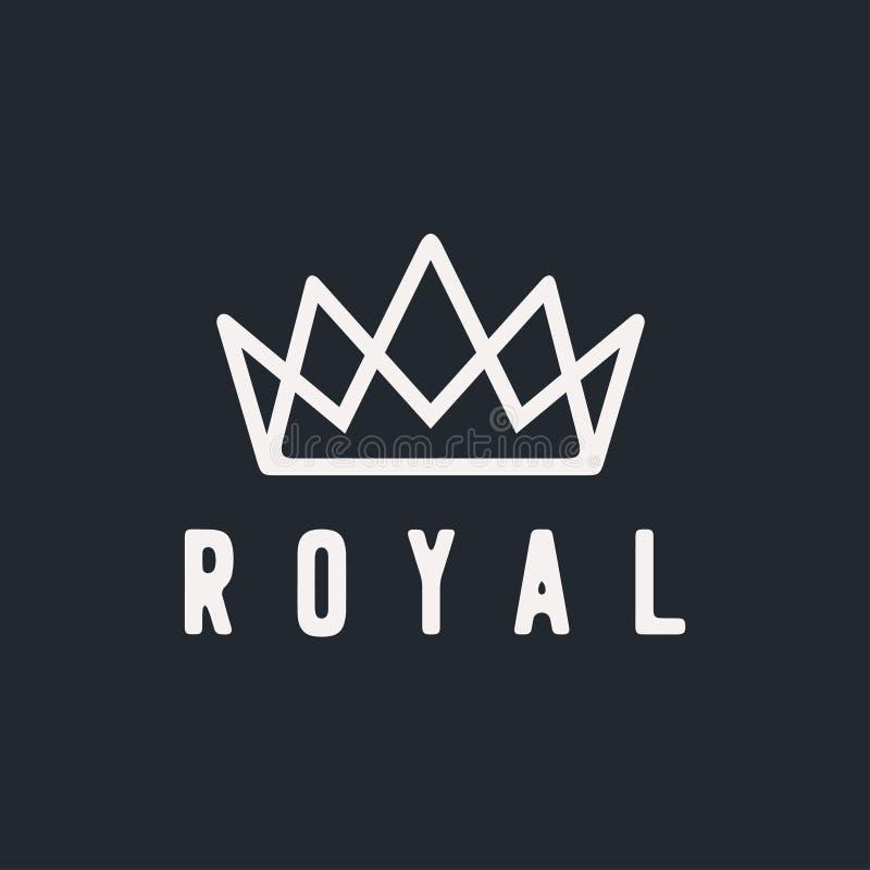 Mall för vektor för design för logo för idérik krona för tappning abstrakt Logotyp för symbol för tappningkronaLogo Royal King Qu royaltyfri illustrationer