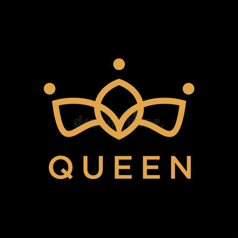 Mall för vektor för design för logo för idérik krona för tappning abstrakt Logotyp för symbol för tappningkronaLogo Royal King Qu stock illustrationer