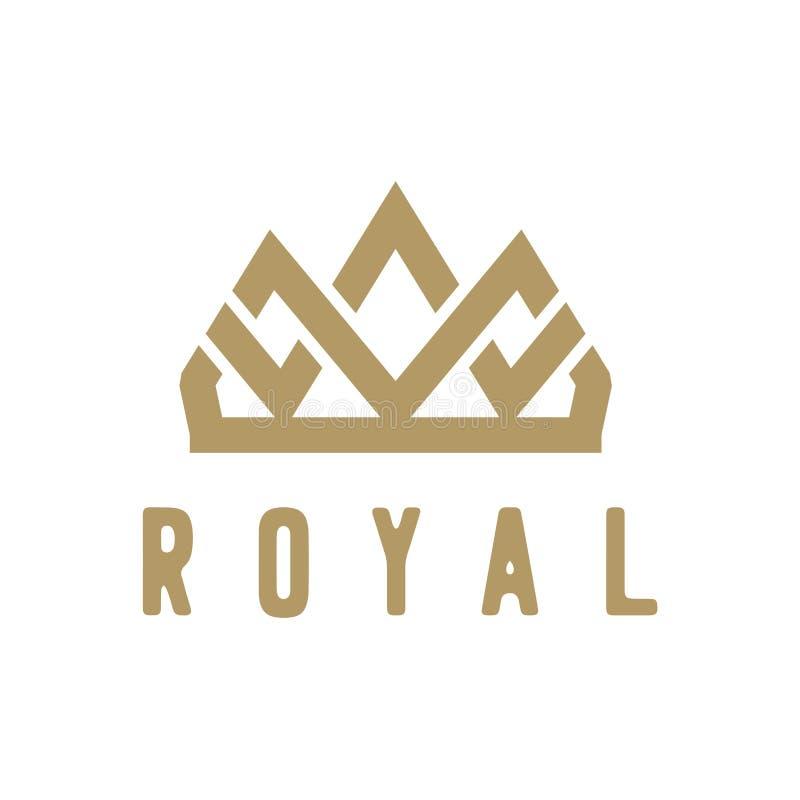 Mall för vektor för design för logo för idérik krona för tappning abstrakt Logotyp för symbol för tappningkronaLogo Royal King Qu vektor illustrationer