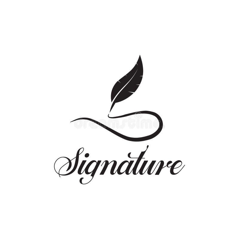 Mall för vektor för design för logo för penna för vingpennafjäder vektor illustrationer