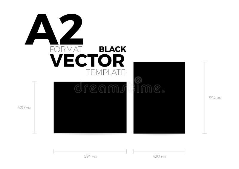 Mall för vektor eps10 för svart för format för sida A2 vertikal och horisontalriktning vektor illustrationer