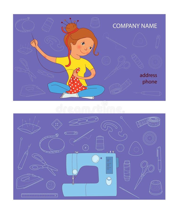 Mall för vektor för kort för sömnadstudioaffär stock illustrationer
