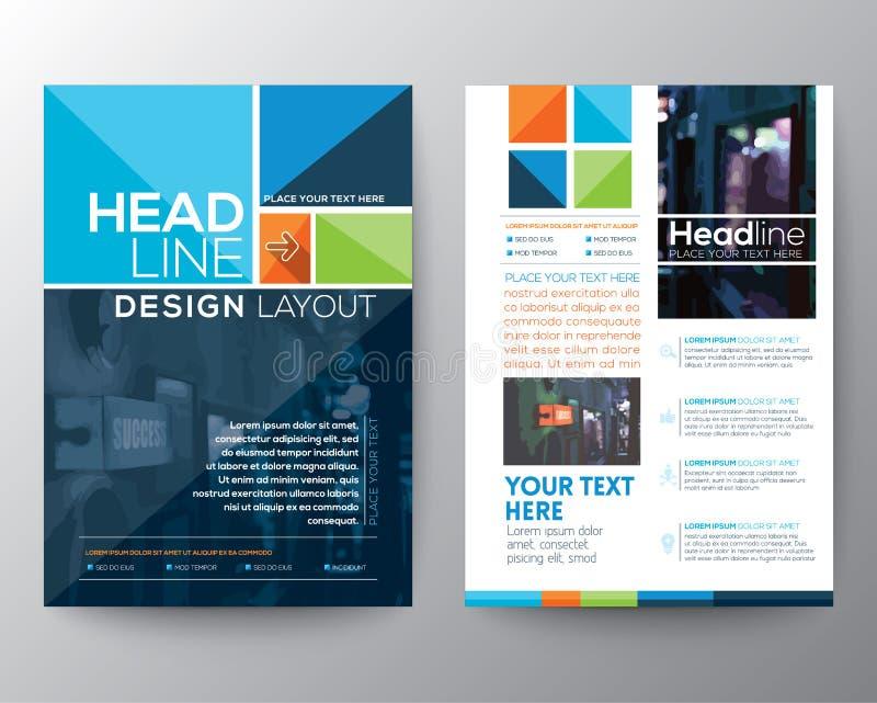 Mall för vektor för orientering för broschyrreklambladdesign stock illustrationer