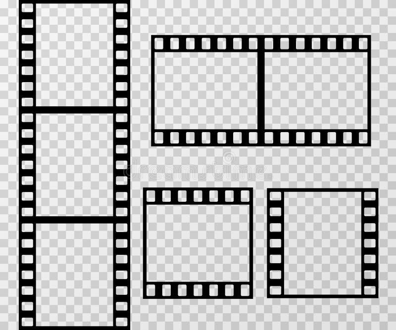 Mall för vektor för ram för filmremsafoto som isoleras på genomskinlig rutig bakgrund royaltyfri illustrationer
