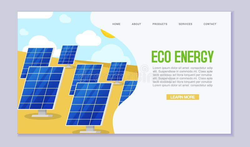 Mall för vektor för förbrukning för ekologiförnybara energikällormakt Webbsidabegrepp av solenergi Solbatteristation på stock illustrationer