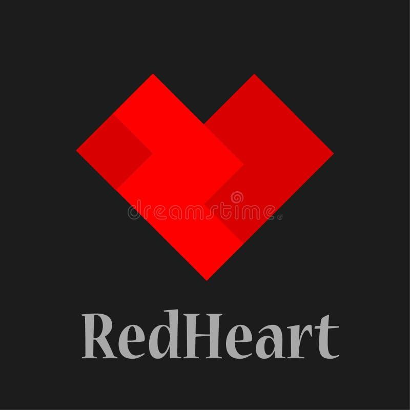 Mall för vektor för hjärtalogodesign St-valentindag av förälskelsesym royaltyfri illustrationer