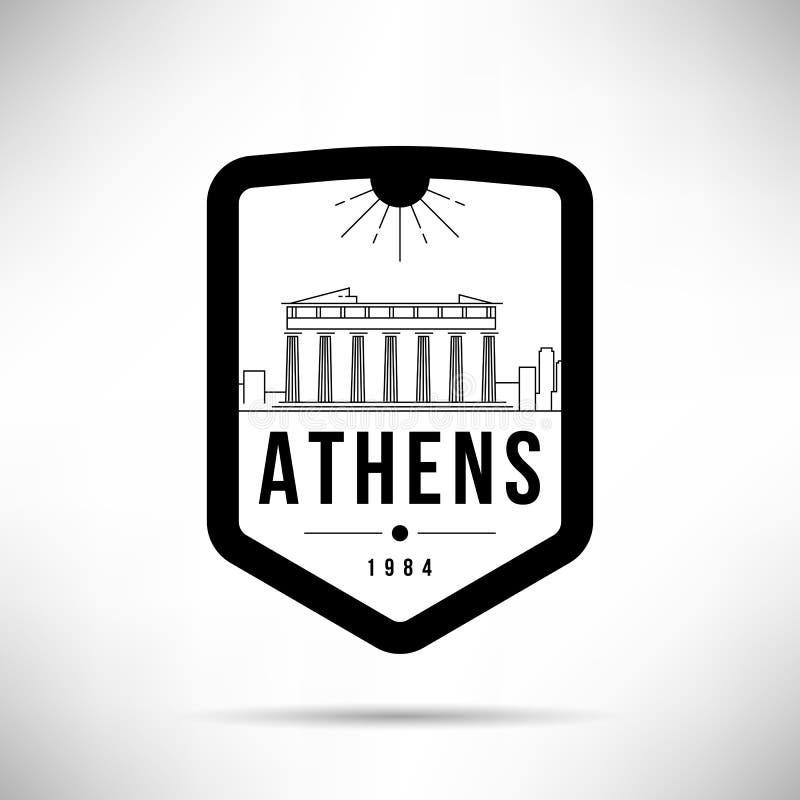 Mall för vektor för horisont för Atenstad modern stock illustrationer