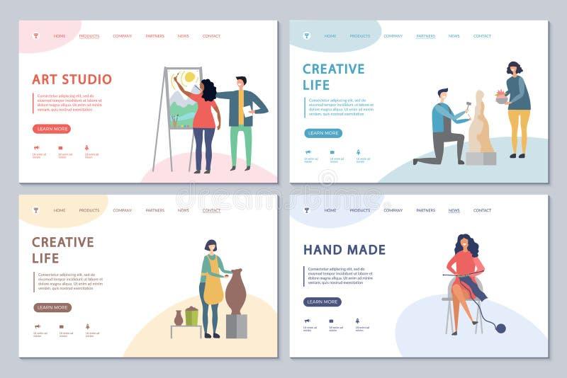 Mall för vektor för idérik livlandningsida fastställd stock illustrationer